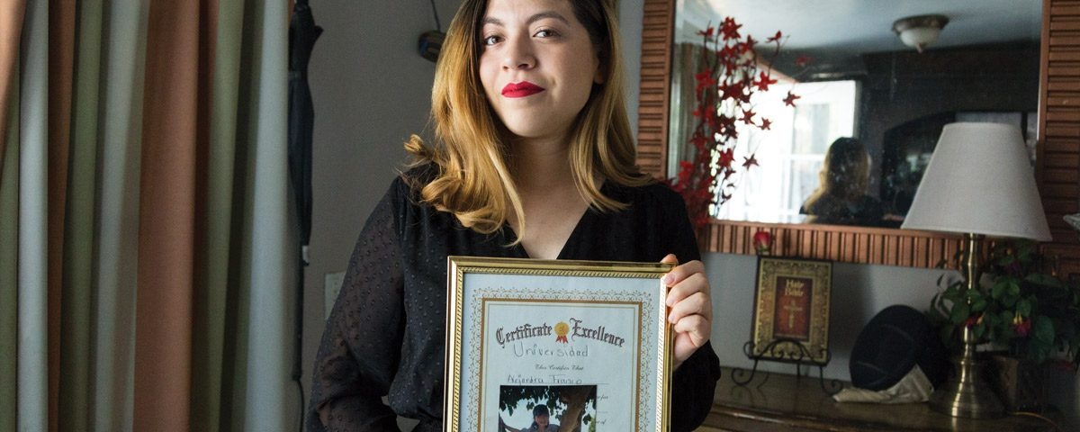Alejandra Franco with childhood Certificate of Excellence