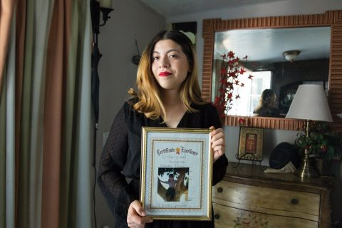Alejandra Franco with Certificate of Excellence