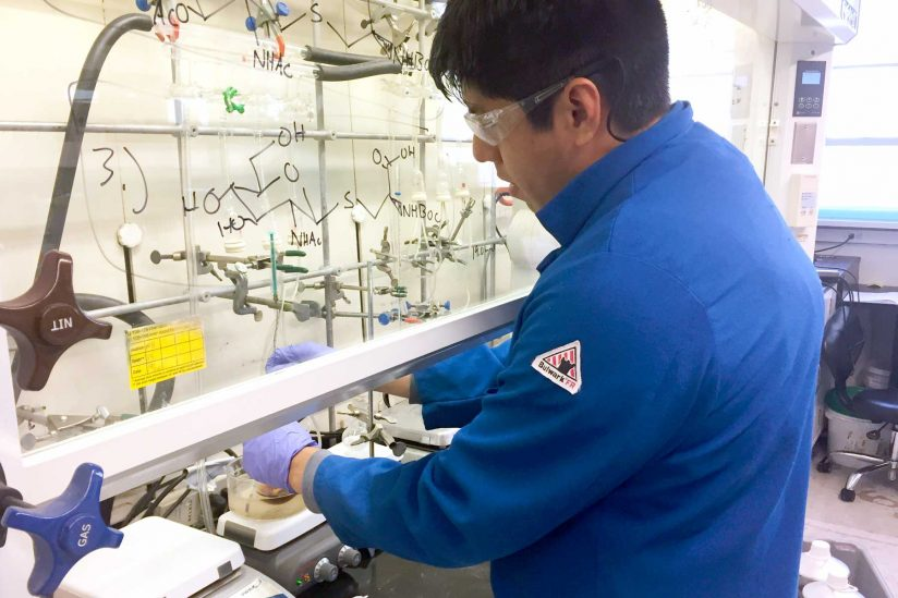 Jose Ricardo Moreno working in fume hood