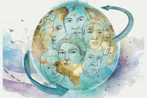 water color illustration of faces in a globe