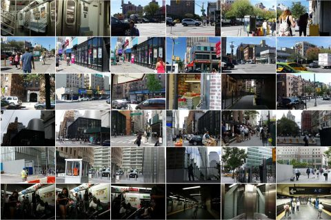 Mosaic of photos taken in New York near subway and bus stations