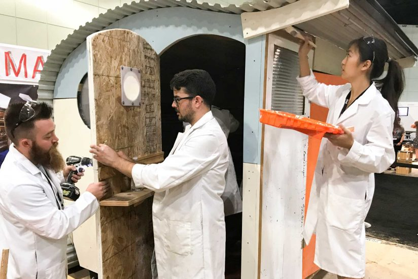 Students work on tiny house