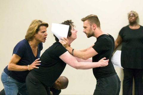 Alexandra Billings works with students in workshop