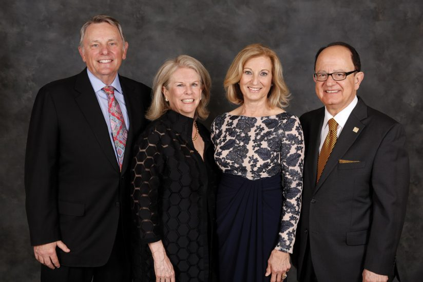 USC Board of Trustees Chair Julie & John Mork with Nikias'