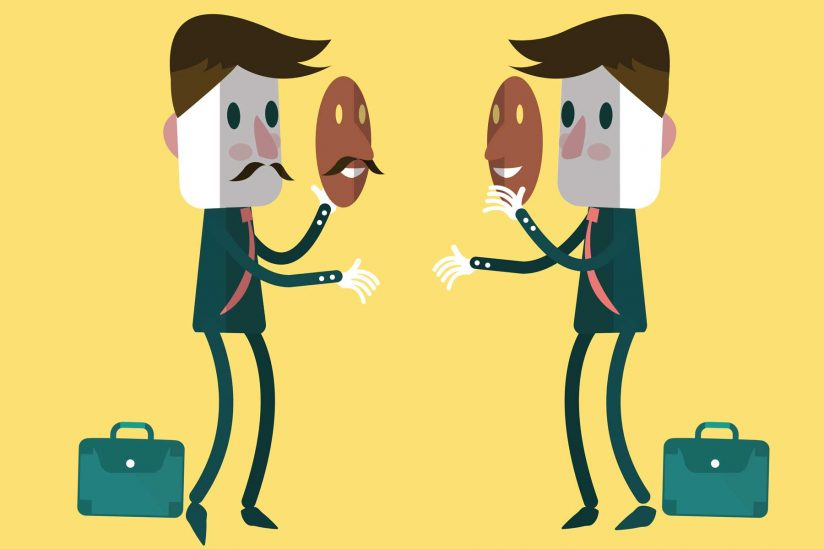 Illustration of two figures talking with masks hiding their emotions