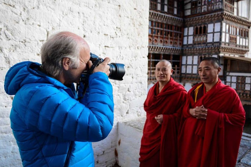 Barry Shaffer photographing monks