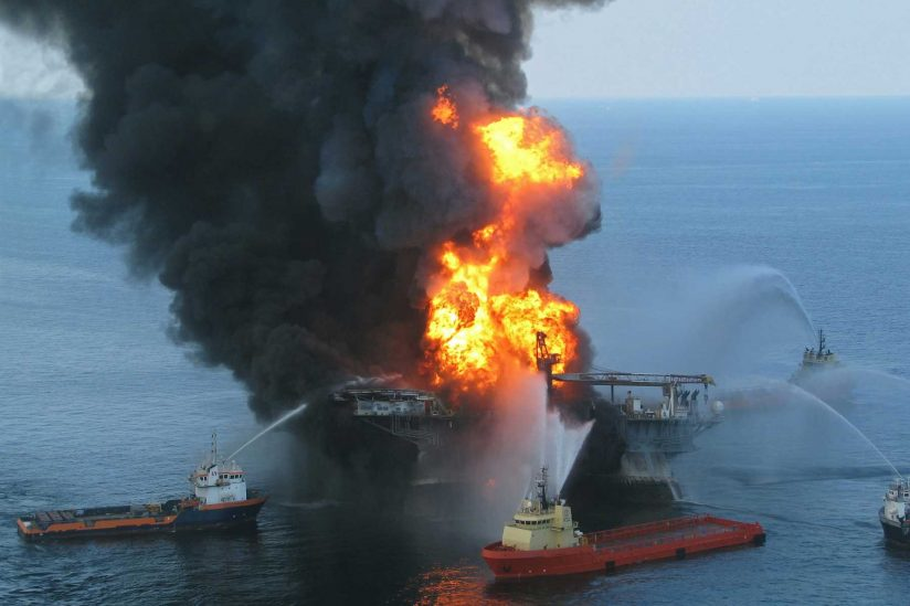 Deepwater Horizon offshore oil rig on fire and emergency responders