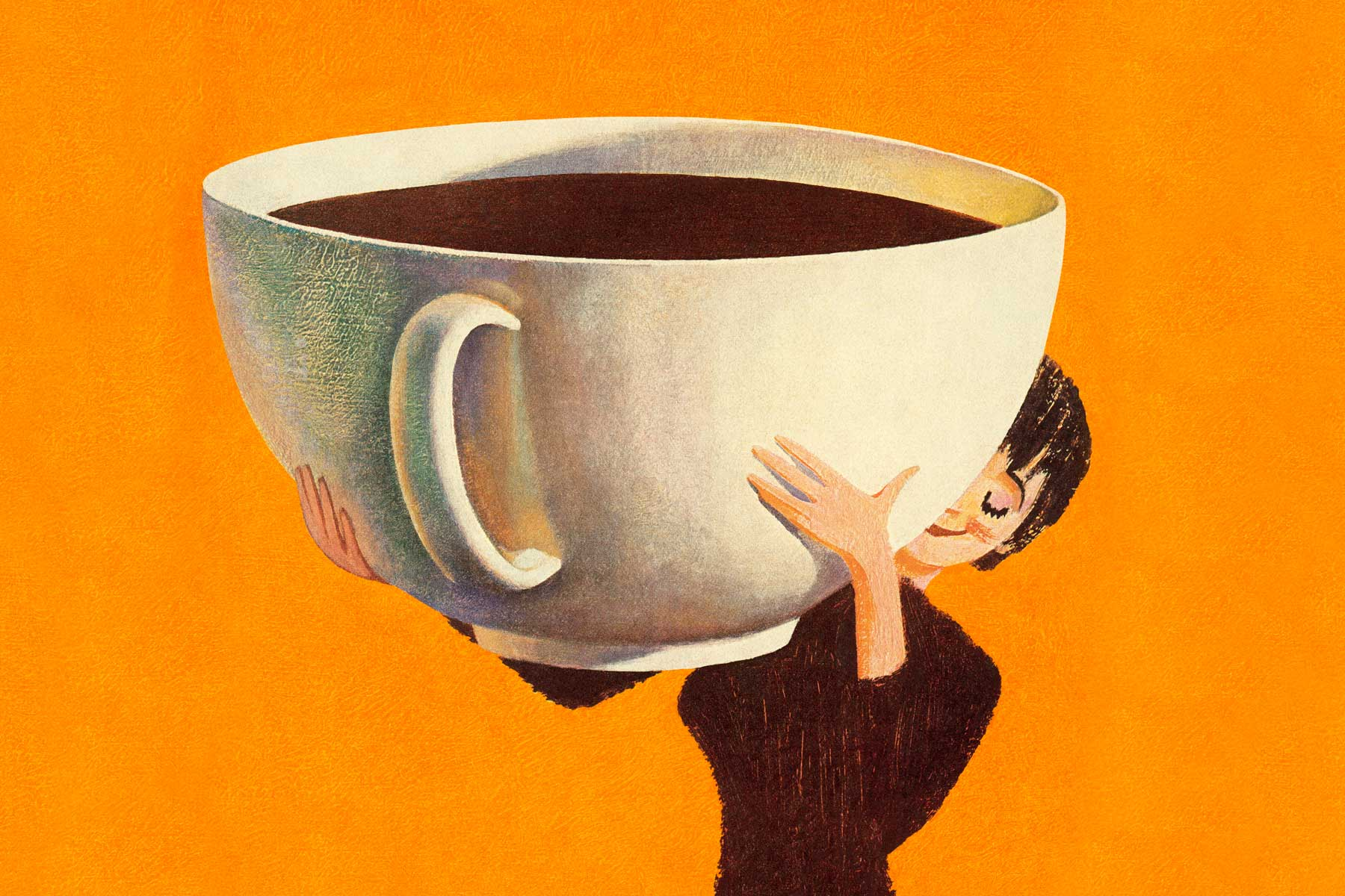 Illustration of woman holding giant cup of coffee