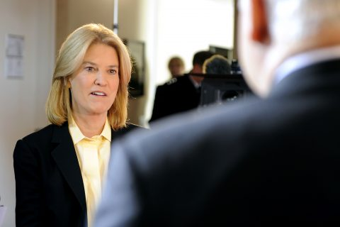 Greta Van Susteren doing interview on camera