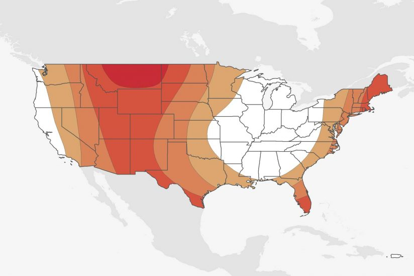 Map of US showing what areas are heating up