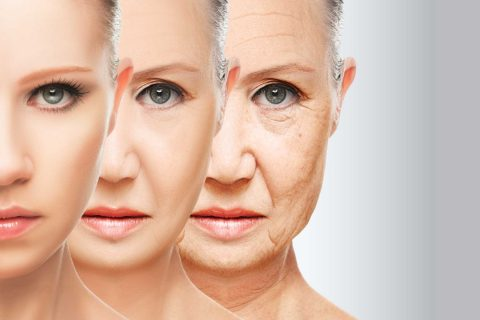 Age progression of a woman in three faces