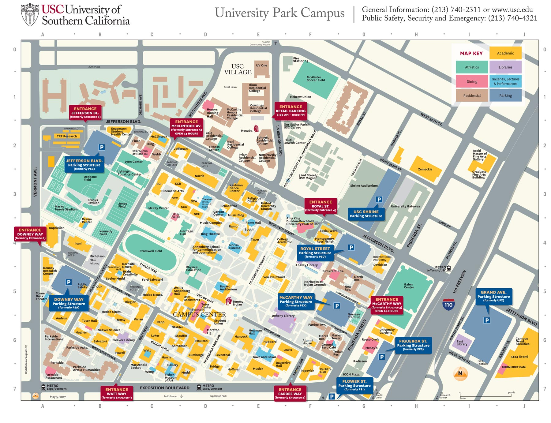 usc university park campus parking structures entrances get new  - university park campus map