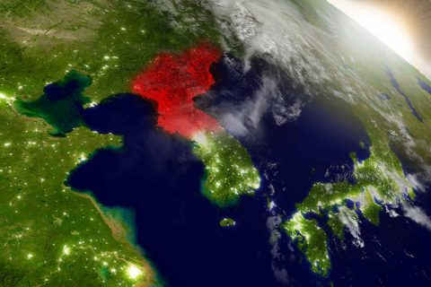 map of North Korea as seen from space