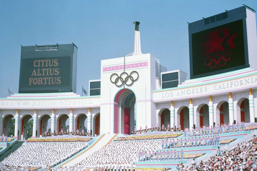 Old scoreboards at the 1984 Olympics