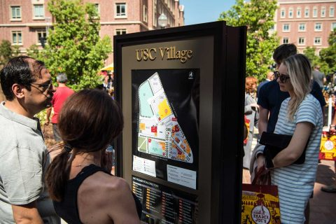 People look at USC Village map