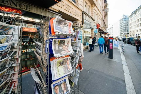 newstand in France after the election
