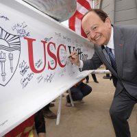 USC President C. L. Max Nikias USC Village Construction
