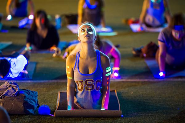 USC student doing yoga