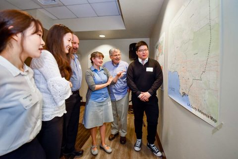 participants looking at a map of LA