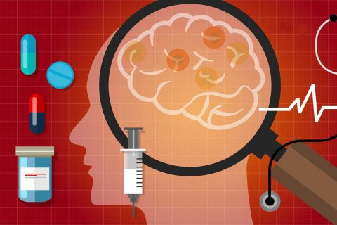 illustration of brain with pills and vaccine and magnifying glass showing a view of brain
