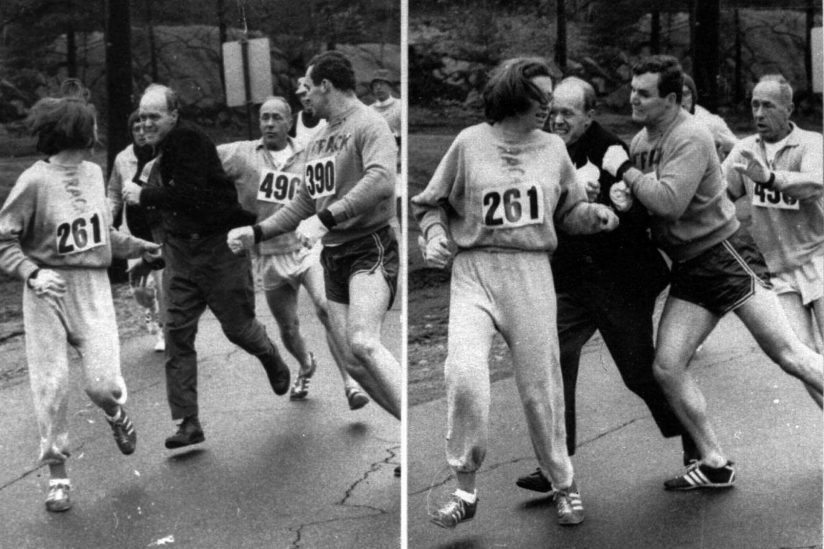 Archive photo of Kathrine Switzer running marathon