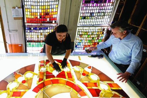 David Judson Luisa Valencia with USC Village stained glass