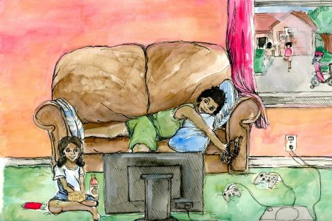 illustration of child and parent watching tv and eating unhealthy snacks.