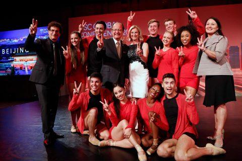 Dancers and USC administrators at Tokyo gala