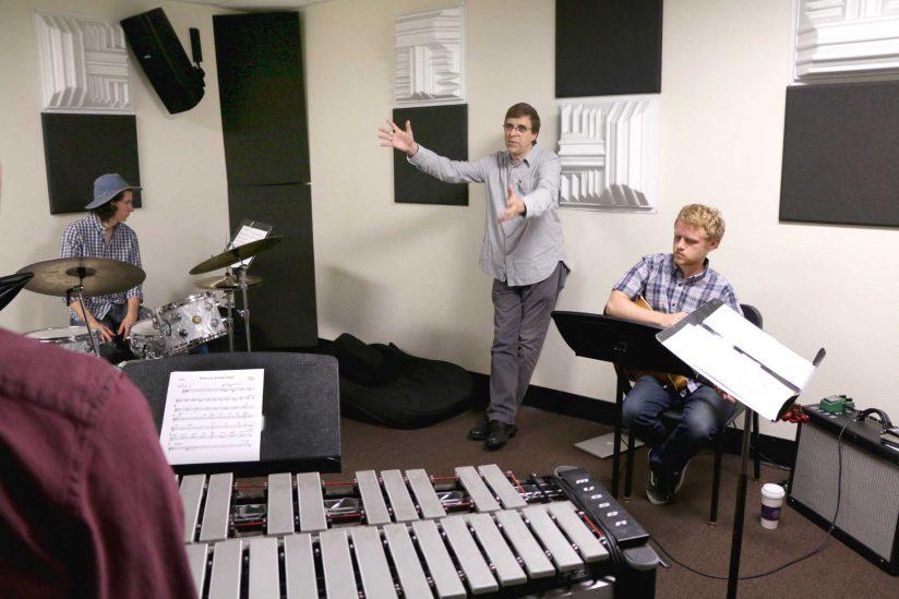 jazz ensemble rehearsing