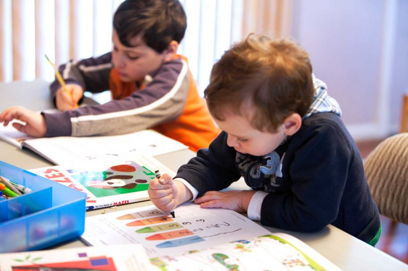 Young autistic children studying