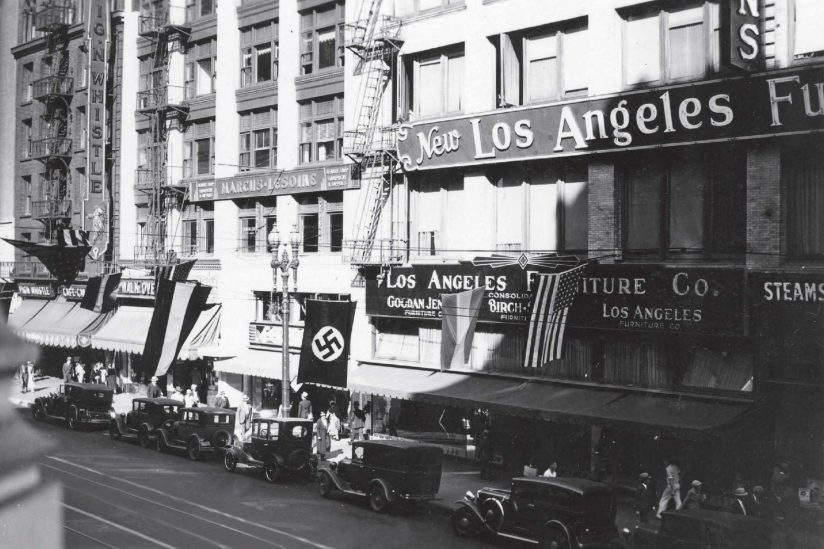 Historical photo of Los Angeles with visible swastikas