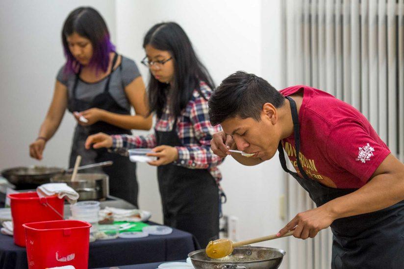 Juan Garado Aceves tasting cooking
