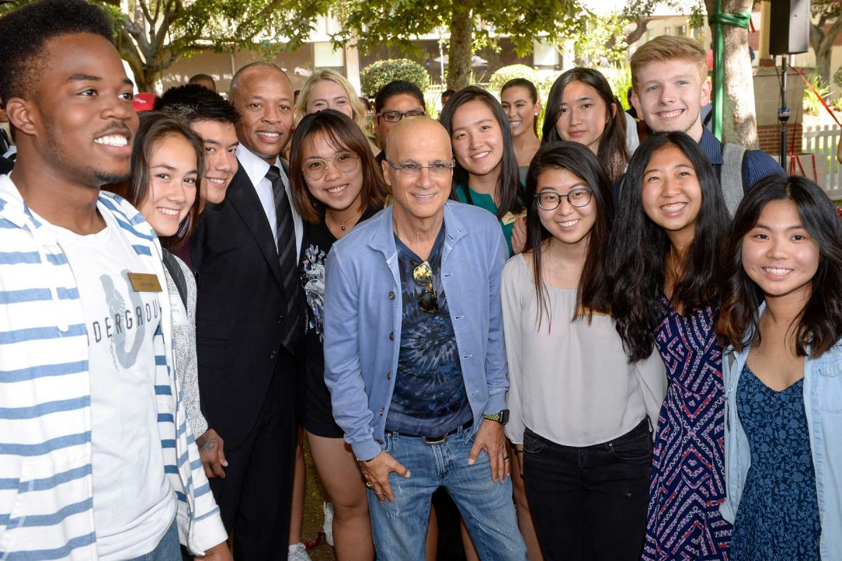 Andre Young and Jimmy Iovine with students