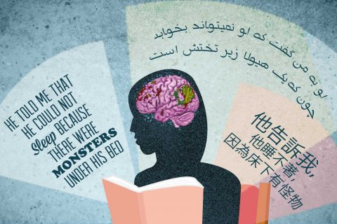 Illustration depicting a person reading, with parts of brain highlighted and background text in Chinese, Farsi, English