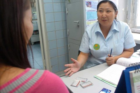 Doctor with patient in Mongolia
