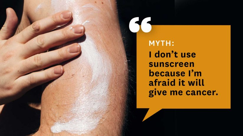 graphic with myth about sunscreen