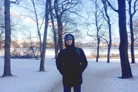 Curtis Green standing in snowy Finland
