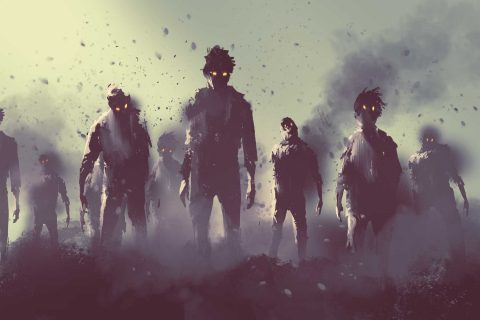 illustration of zombies walking