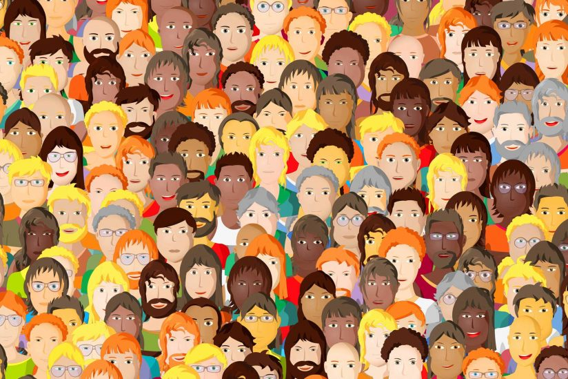 Illustration of faces in a crowd