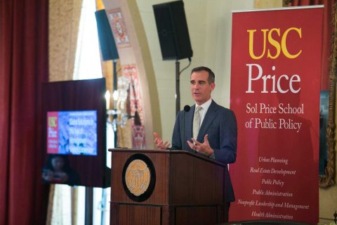 Eric Garcetti at podium during USC Summit on Global Solutions in the Age of Homegrown Violent Extremism