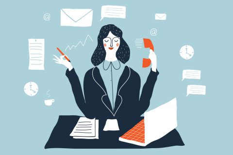 Illustration depicting woman making mental notes to do tasks