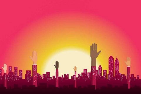 illustration of city with sunrise and hands raised symbolizing participation