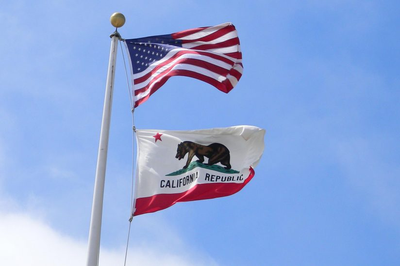 U.S. and California flags