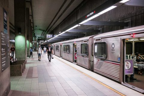 red line underground station on LA Metro