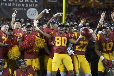 Trojans celebrate the Pac-12 championship