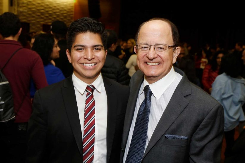 Schwarzman Scholar Edwin Saucedo and USC President C. L. Max Nikias