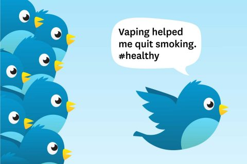 illustration of twitter bird talking about vaping