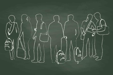 Chalk outlines of adolescents and young adults illustration