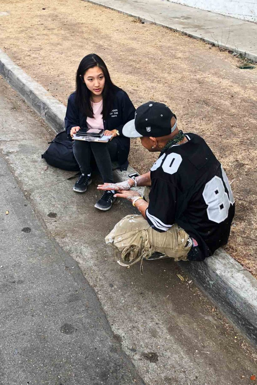 USC student Jessica Yun conducting survey