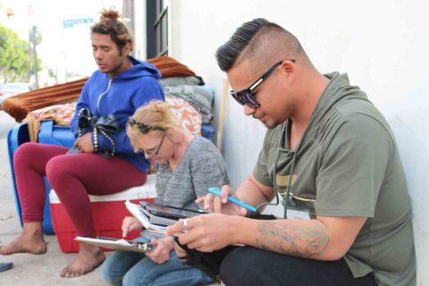 Chrysalis members conducting surveys